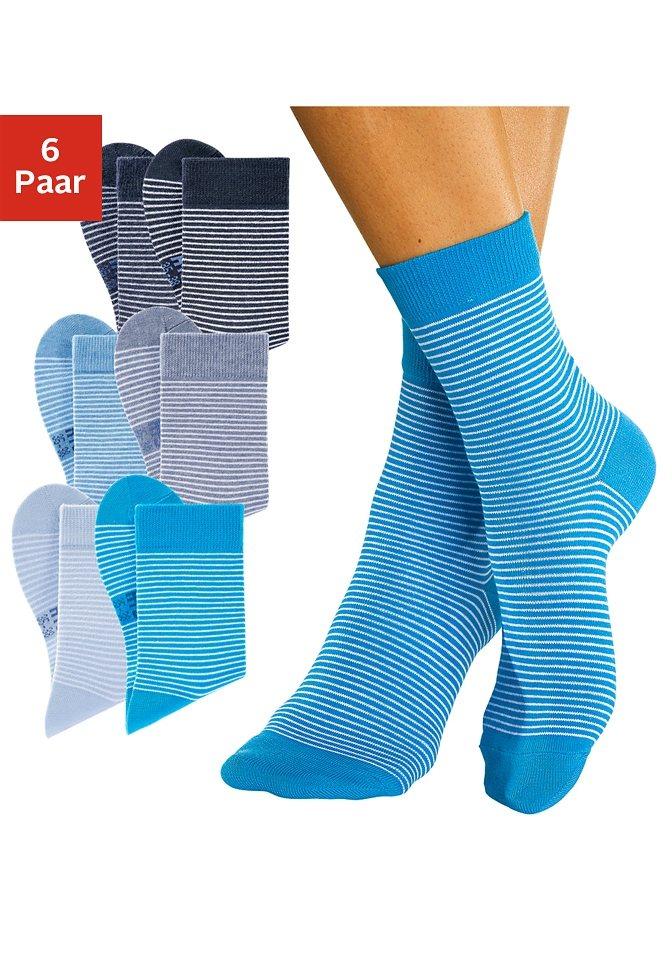 H.I.S Geringelte Socken (6 Paar) mit druckfreiem Bündchen in marine + dunkeljeans mel. + jeans mel. + türkis + jeans + hellblau
