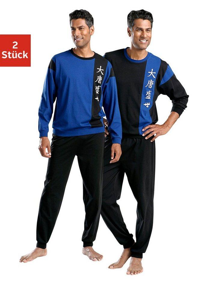 Le Jogger, Pyjamas (2 Stück), lang in schwarz + blau