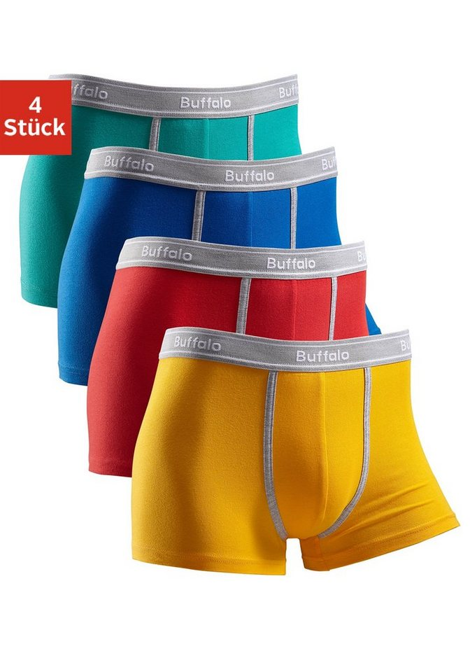 Buffalo Boxer (4 Stück) mit kontrastfarbenem Bund und Pipings in rot + gelb + mint + blau