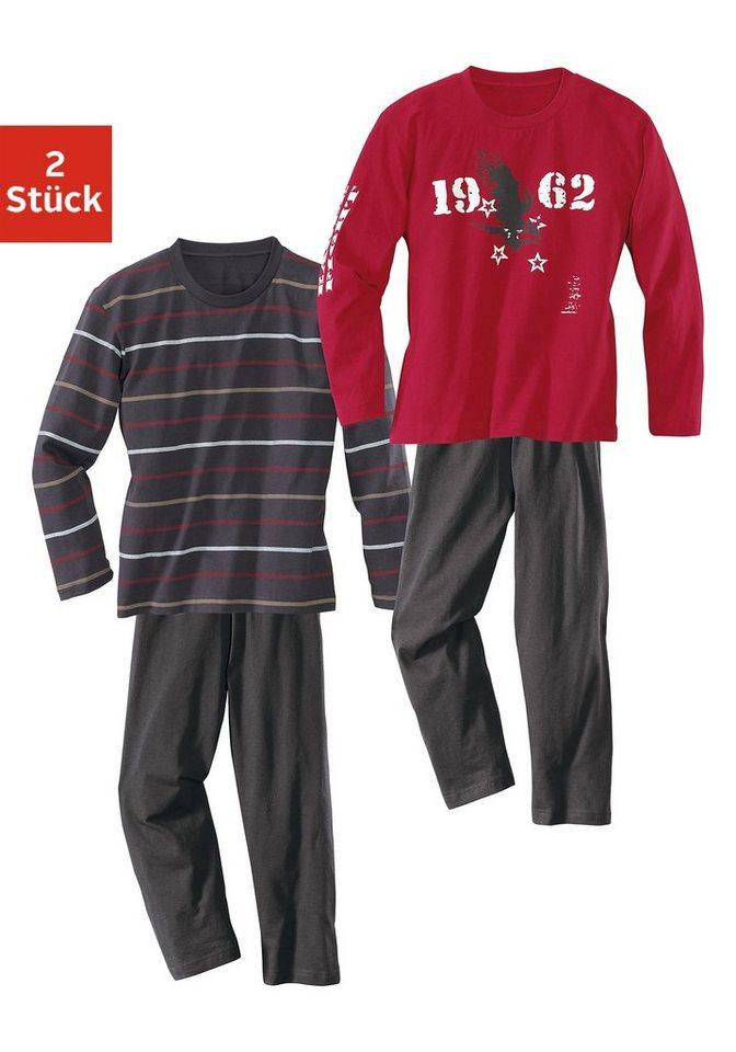 Baumwoll- Pyjamas, Oberteile gestreift oder mit modischem Adlerdruck (2 Stück) in dunkelgrau + bordeaux