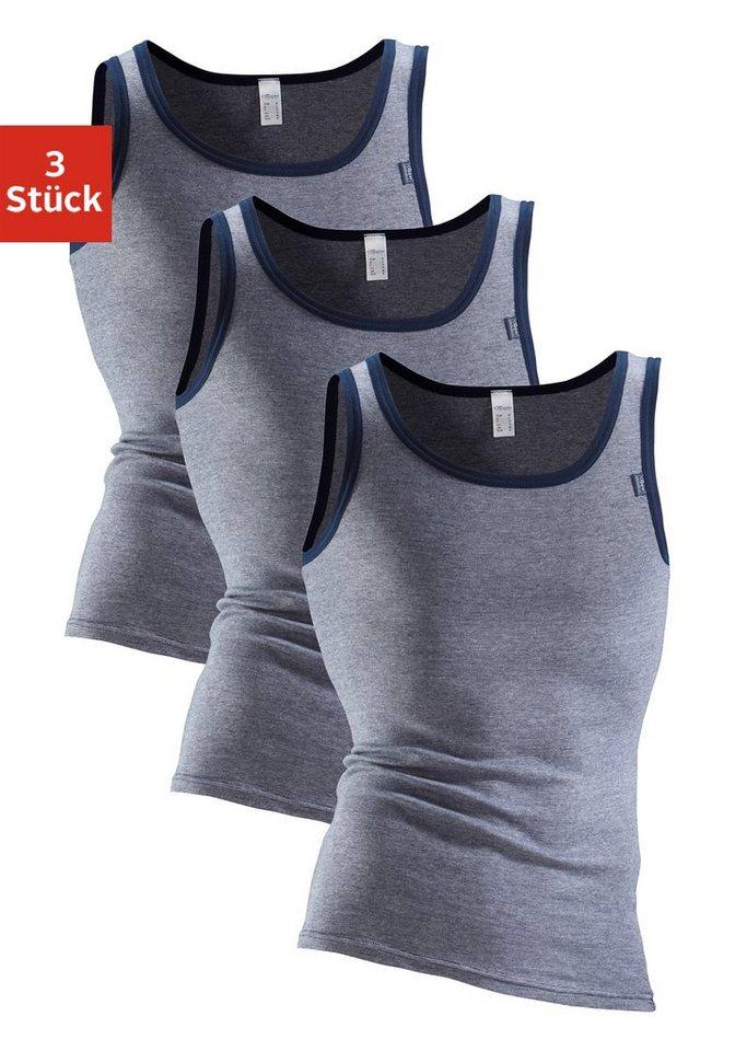 Clipper Exclusive, Unterhemd (3 Stück), modische Optik: Jeans meliert, tolle Baumwoll-Qualität in 3x marine