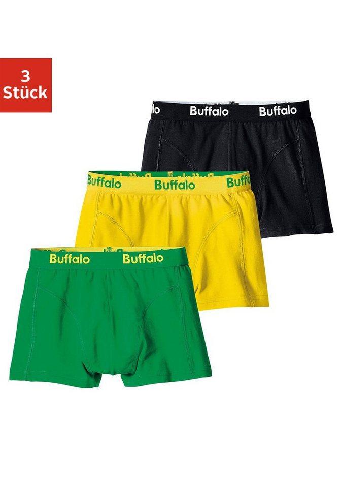 Buffalo Boxer (3 Stück), coole Farben mit Webbund in schwarz + gelb + grün