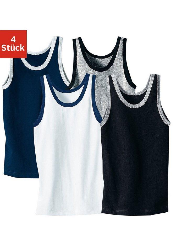 Authentic Underwear Unterhemd (4 Stück), mit cooler Kontrasteinfassung in schwarz + weiß + grau mel. + marine