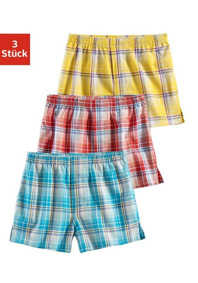 Le Jogger Boxershorts (3 Stück), Lust auf Sommer? Frische Farben in coolem Web-Karo in rot + blau + gelb