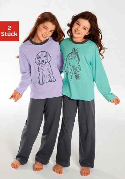 Pyjama (2 tlg., 2 Stück) Oberteile in schönen Farben mit Tierdruck