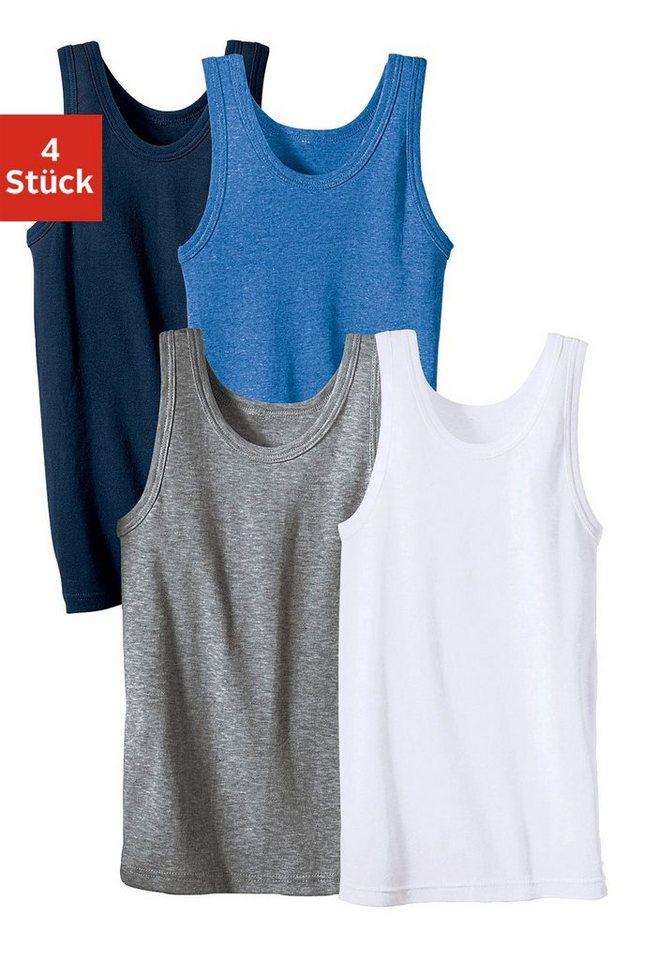 Unterhemd (4 Stück), schlichter Basic aus Feinripp in marine + hellblau meliert + weiß + grau meliert