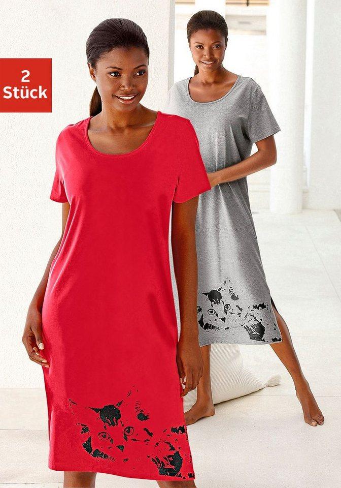 Vivance Dreams Lange Nachthemden (2 Stück) mit Katzenprint in rot + grau