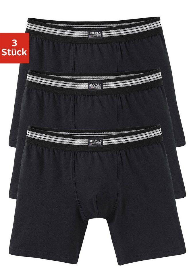 Jockey, Longboxer (3 Stück), Top Markenqualität, Retro Pants mit längerem Bein in 3x schwarz