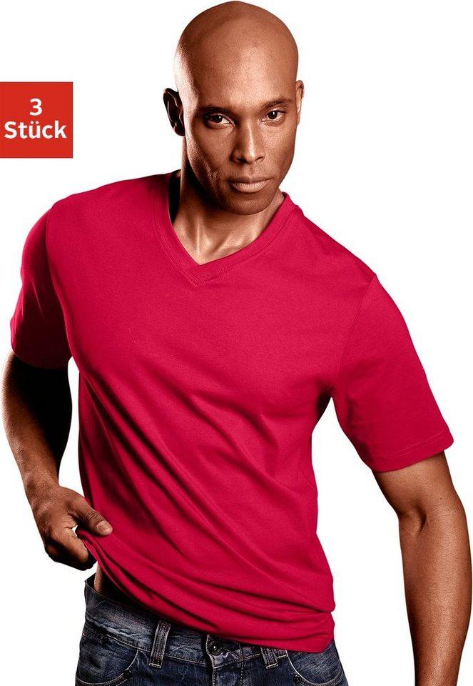 """T-Shirts mit V-Ausschnitt (3 Stück), Baumwolle """"Cotton made in Africa"""" in weiß + rot + marine"""