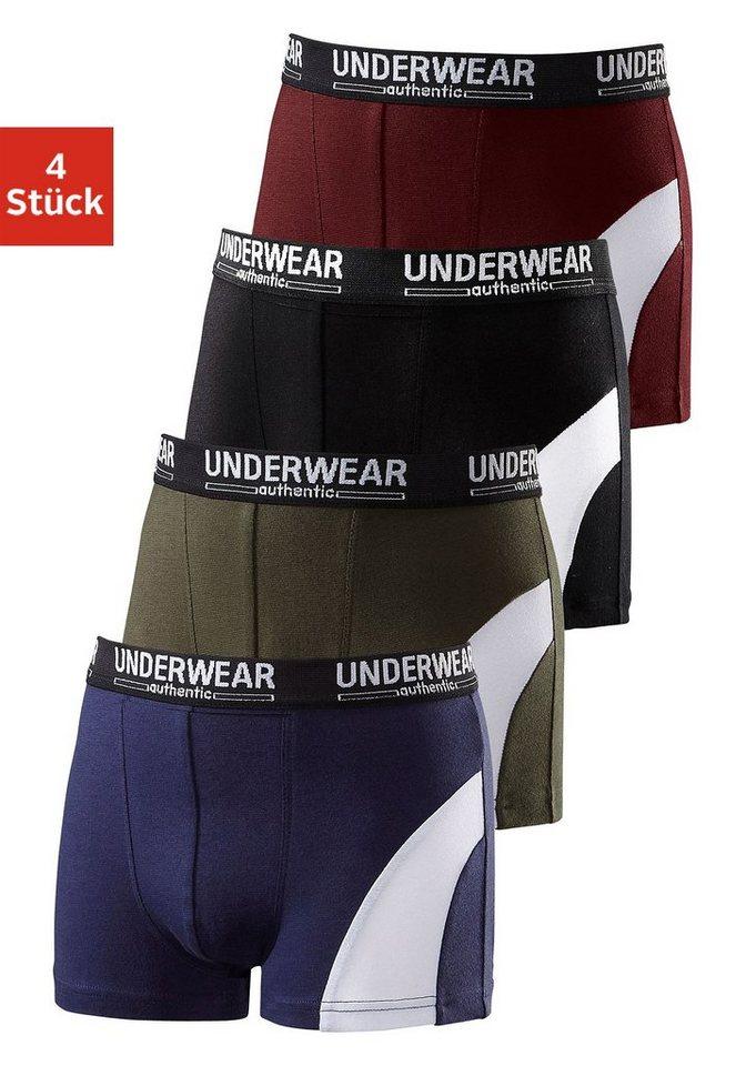 Authentic Underwear Boxer (4 Stück), mit sportlichem Colorblocking in Weiß, mit Webbund in 4x farblich sortiert