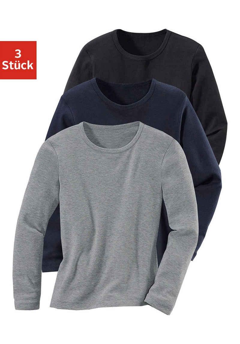 Langarmshirt (Packung, 3er-Pack) in Rippenqualität