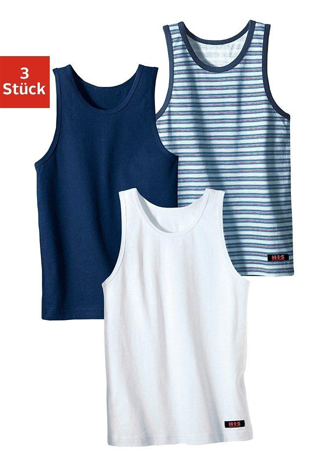 H.I.S Unterhemd (3 Stück), cooler uni-Streifen-Mix, ideal zum Drunterziehen in marine + weiß + marine gestreift