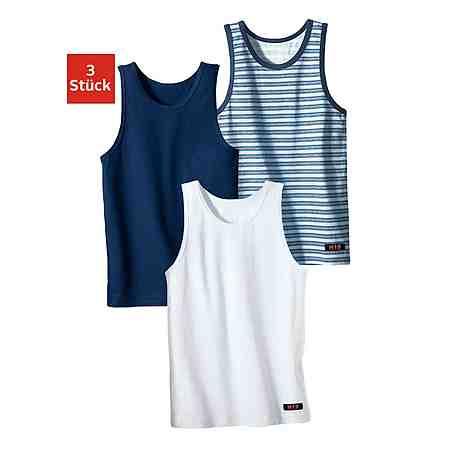 H.I.S Unterhemd (3 Stück), cooler uni-Streifen-Mix, ideal zum Drunterziehen