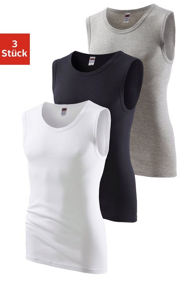 H.I.S Feinripp-Muscleshirt (3 Stück) sportive Form ohne Seitennähte optimale Passform in grau mel. + schwarz + weiß