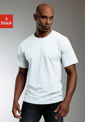 Rundhalsshirts (3 Stück), Baumwolle»Cotton made in Africa« in 3x weiß