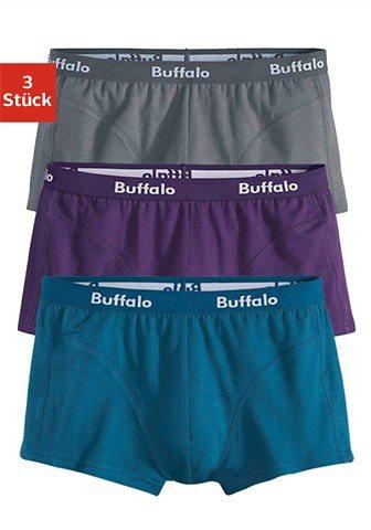 Buffalo Baumwoll-Hipster (3 Stück) in verschiedenen Farbkombinationen in grau + petrol + lila