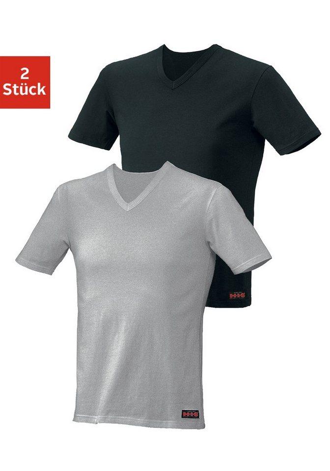 H.I.S Kurzarmshirts (2 Stück) aus Baumwolle in grau meliert + schwarz