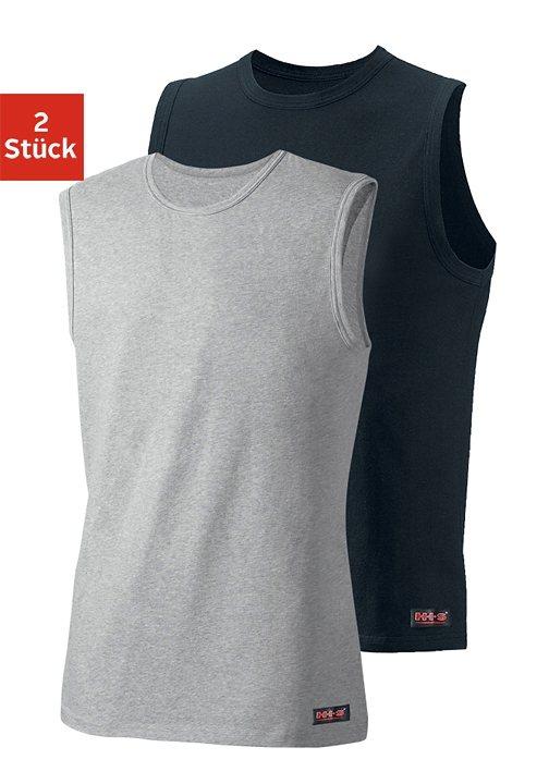 H.I.S Muscleshirt (2 Stück) aus weichem Baumwoll-Stretch in grau meliert + schwarz