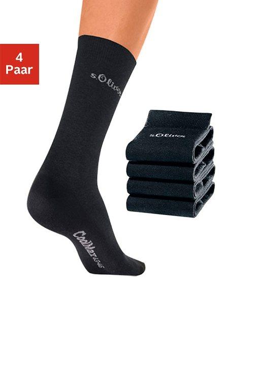s.Oliver RED LABEL Bodywear Freizeitsocken (4 Paar) mit Coolmax Funktionsfaser in 4x schwarz