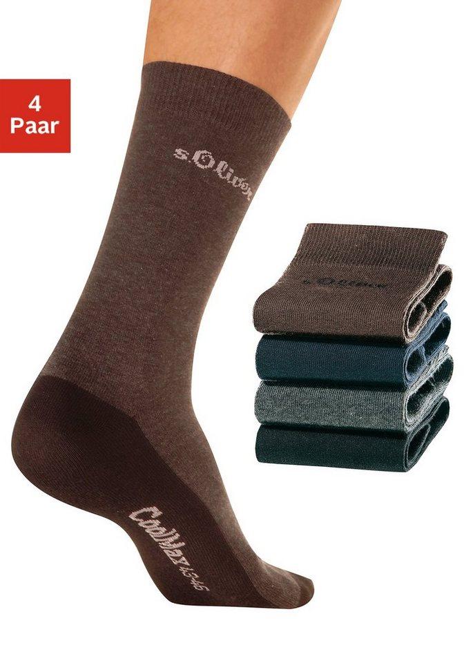 s.Oliver RED LABEL Bodywear Freizeitsocken (4 Paar) mit Coolmax Funktionsfaser in schwarz + braun + anthrazit meliert + marine