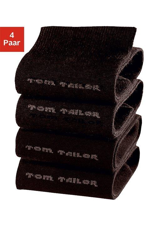 Tom Tailor Socken (4 Paar) mit druckfreiem Bündchen in 4x schwarz