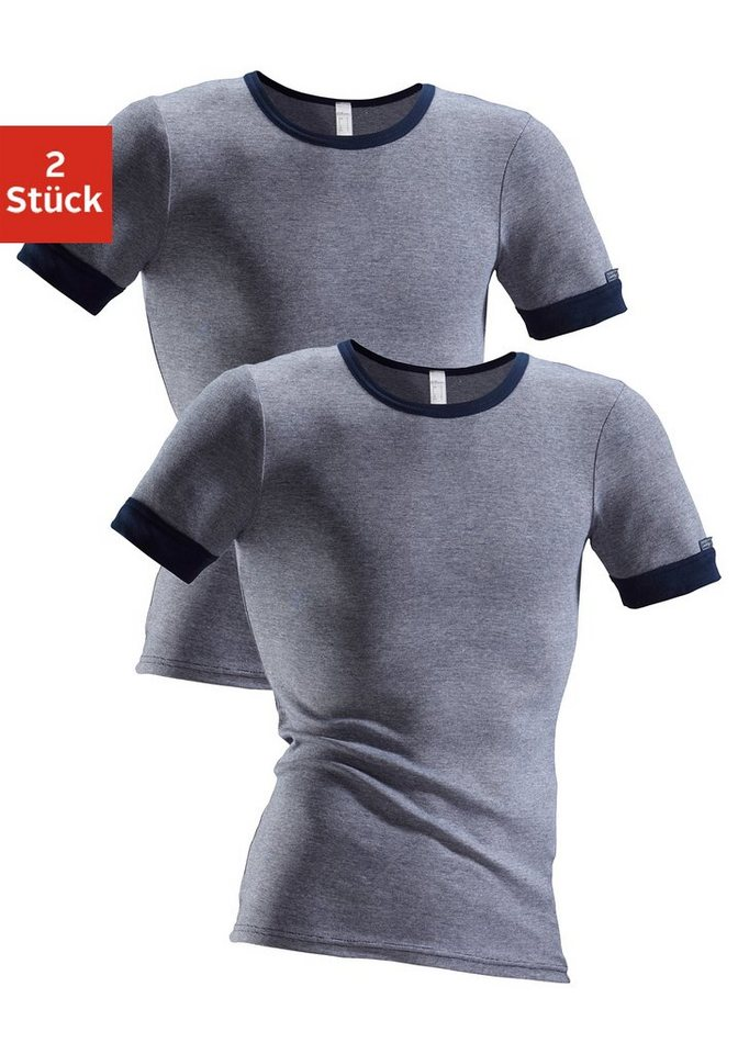 Clipper Exclusive, Unterhemd (2 Stück), modische Optik: Jeans meliert, tolle Baumwoll-Qualität in 2x marine