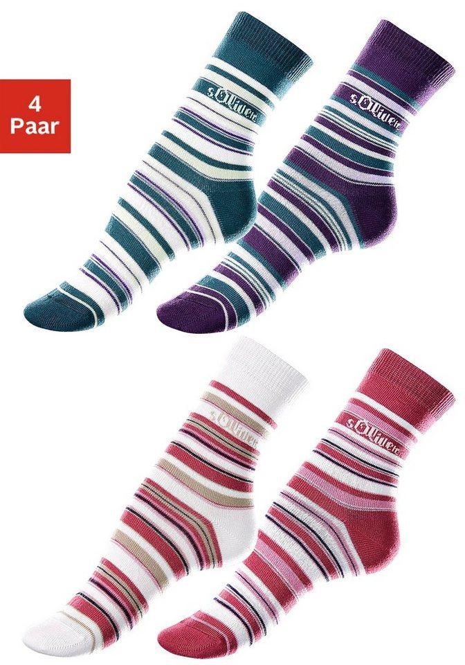 s.Oliver RED LABEL Bodywear Ringelsocken (4 Paar) Made in Germany in lila + petrol + beere + ecru
