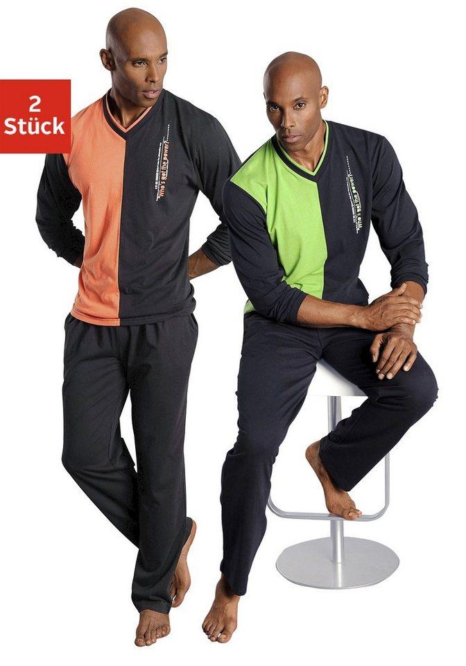 Le Jogger, Pyjamas (2 Stück), lang in grün + orange