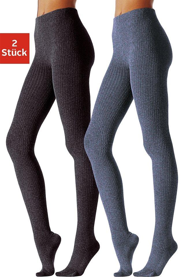 Lavana Strickstrumpfhose (Packung, 2 St), mit Gummibund   Unterwäsche & Reizwäsche > Strumpfhosen > Strickstrumpfhosen   Blau   Polyamid   Lavana