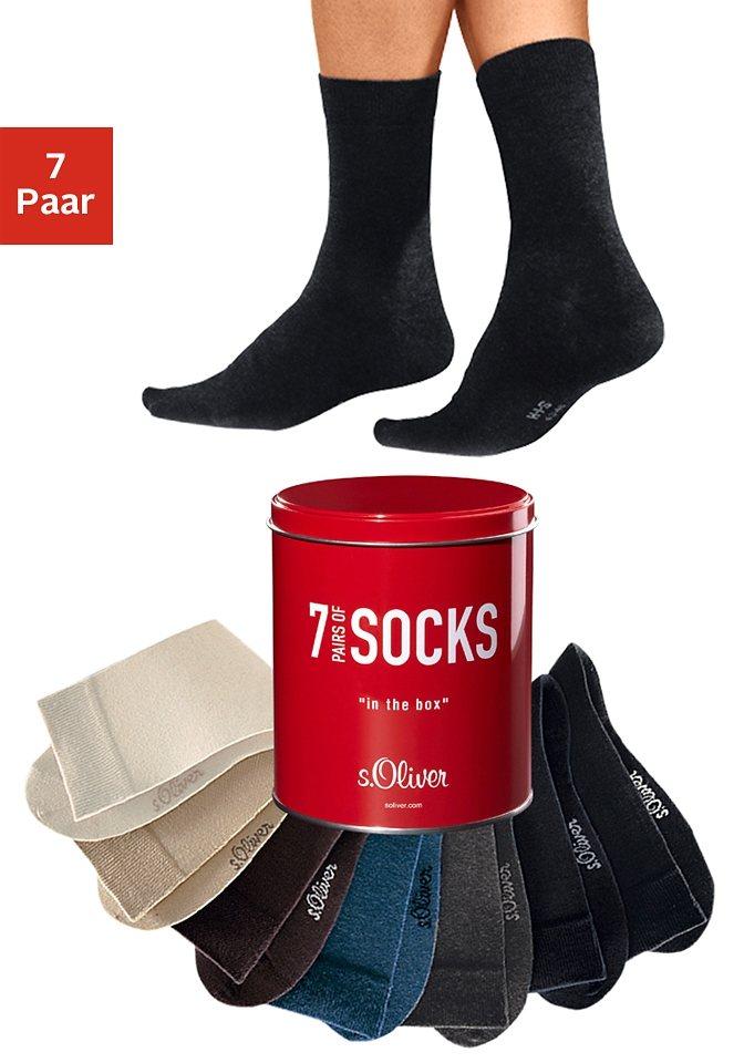 s.Oliver RED LABEL Bodywear Freizeit- und Businesssocken (7 Paar) in der Dose in braun + camel + beige + anthrazit + jeans meliert + 2x schwarz