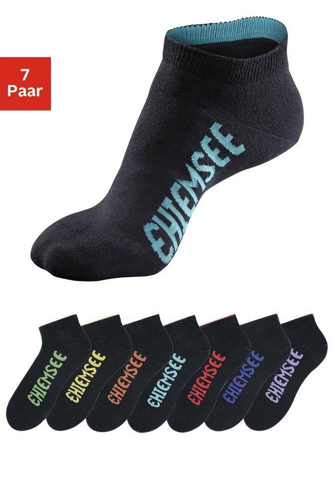 Chiemsee Sportive Füßlinge (7 Paar) mit farbigen Logos in schwarz