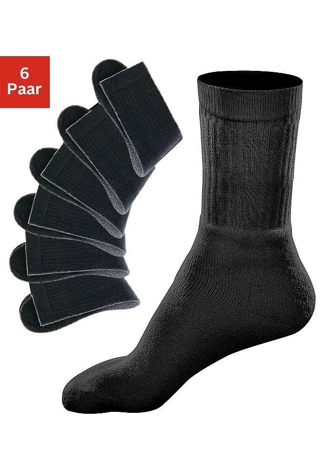 GO IN Sportsocken (6 Paar) mit geripptem Schaft in 6x schwarz uni