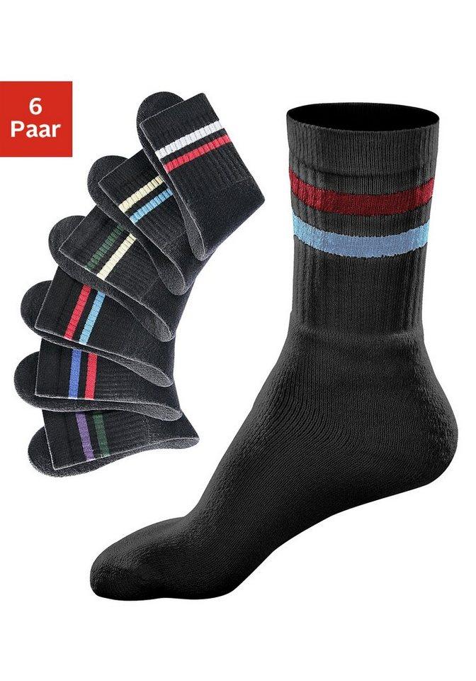 GO IN Sport- und Freizeitsocken (6 Paar) mit farbigen Streifen in 6x schwarz mit Ringel
