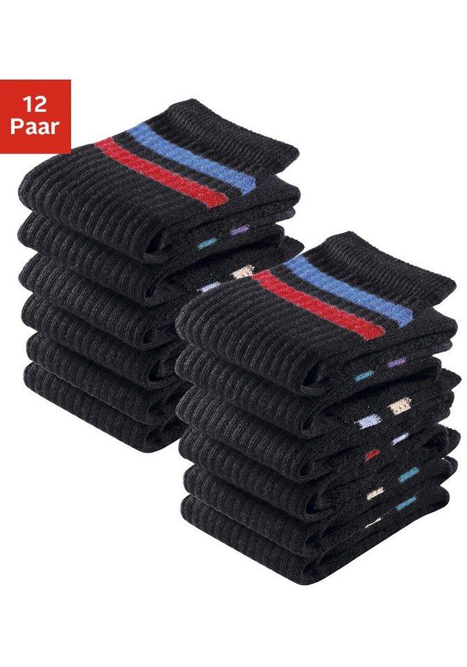 GO IN Sport- und Freizeitsocken (12 Paar) mit Frottee in 12x schwarz mit Ringel