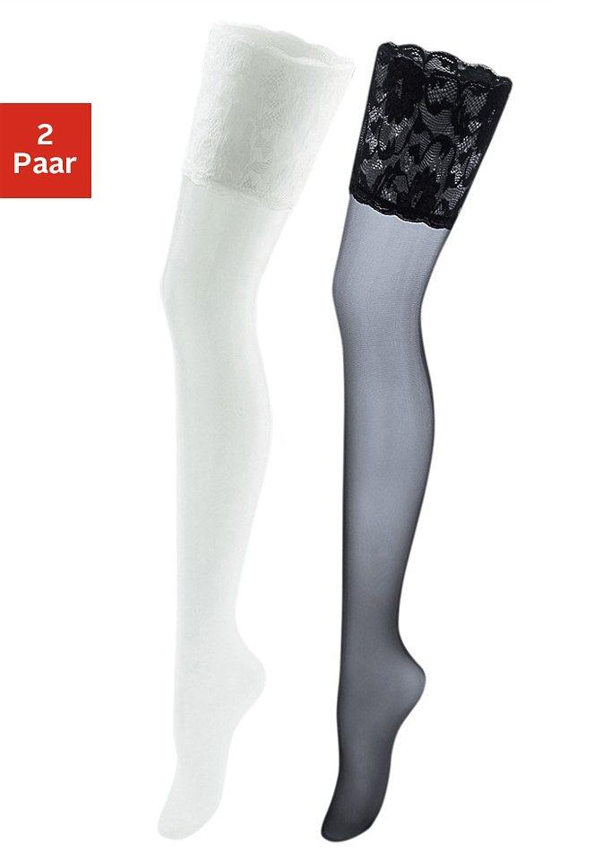 Vivance Halterlose Strümpfe (2 Paar) mit breitem Spitzenband in schwarz + weiß