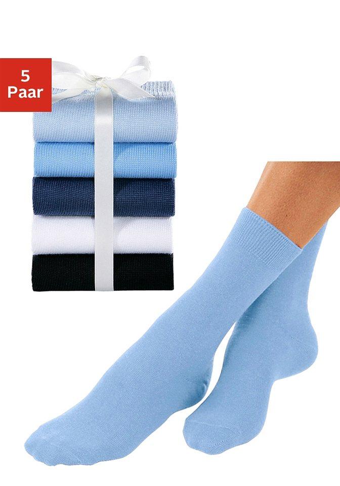GO IN Basic-Socken (5 Paar) ganz unifarben in 5x Blautöne