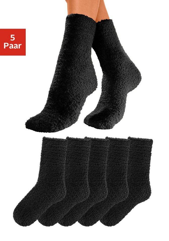 Lavana Basic Kuschelsocken (5 Paar) ideal als Hausschuhersatz in 5x schwarz