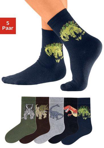 Go in Socken (5-Paar) mit Dinosauriermotiven