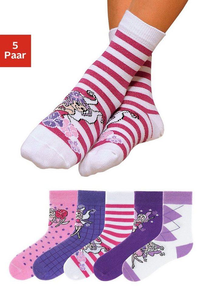 GO IN Kindersocken (5 Paar) in 5 farbenfrohen Designs in 5x lila-pink