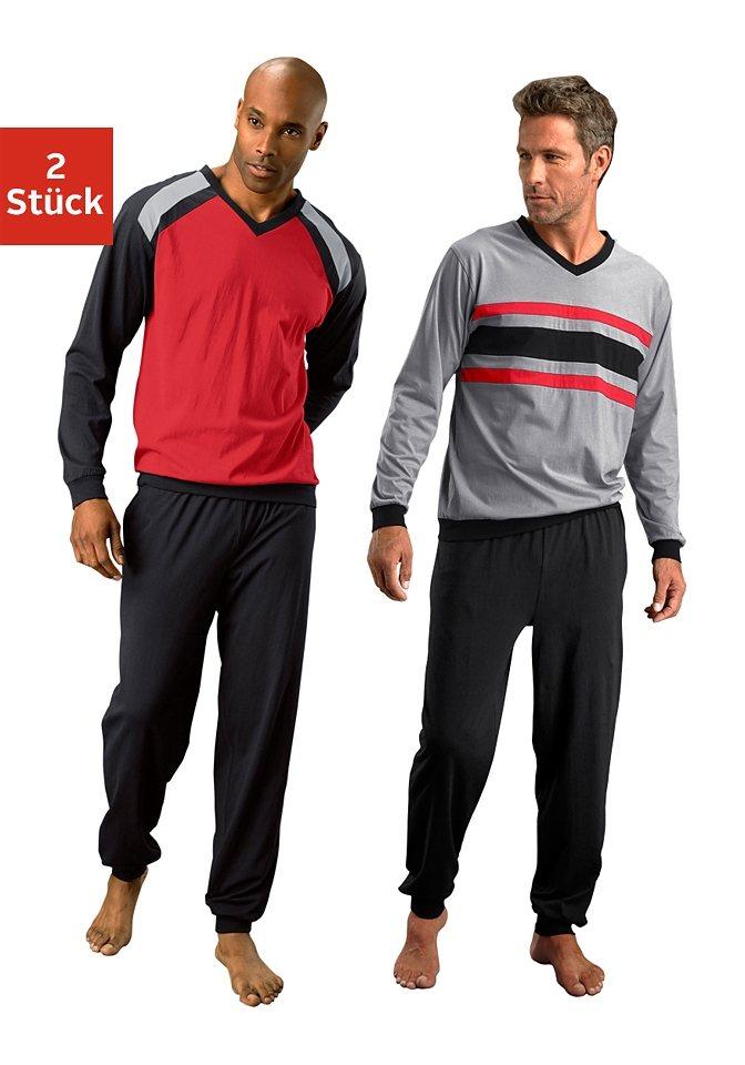 Le Jogger, Pyjamas (2 Stück), lang in rot-schwarz + grau-schwarz