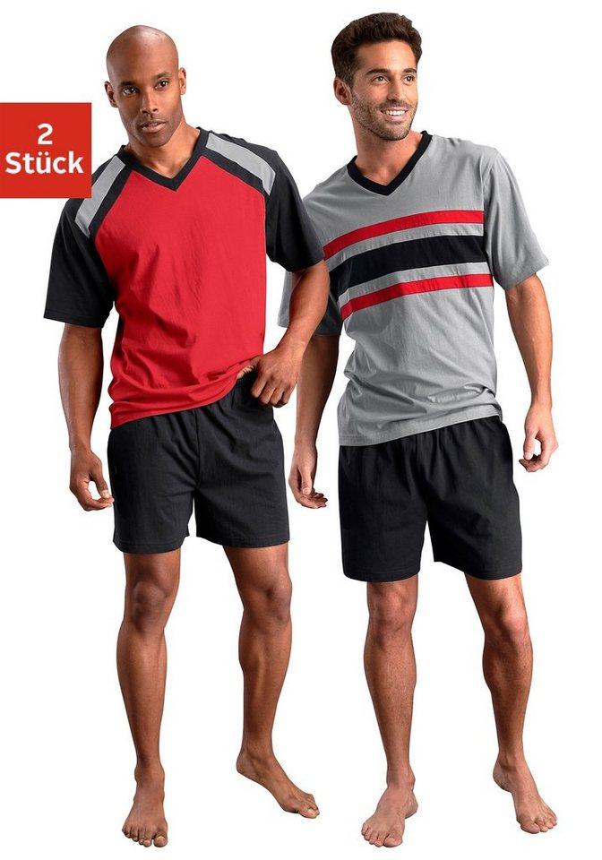 Le Jogger, Shorty (2 Stück), Pyjamas, kurz in rot-schwarz + grau-schwarz