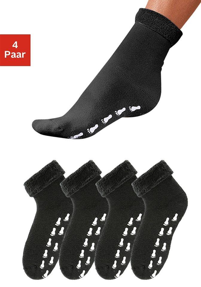 GO IN Schwarze Stoppersocken (4 Paar) mit Antirutschsohle & Vollfrottee in 4x schwarz
