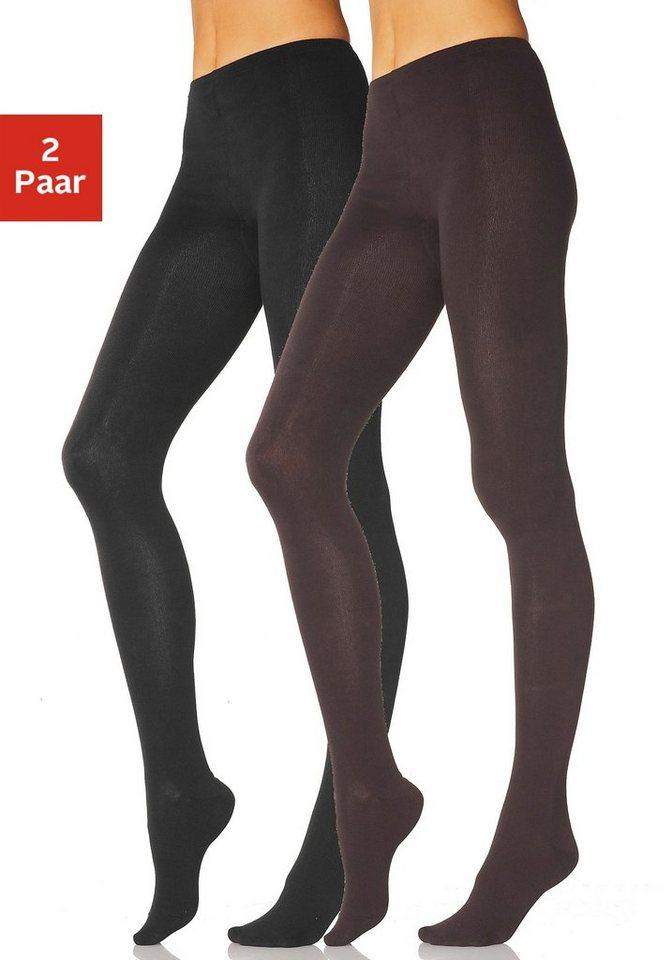 Lavana Basic Strumpfhosen (2 Paar) glatt gestrickt in braun + schwarz