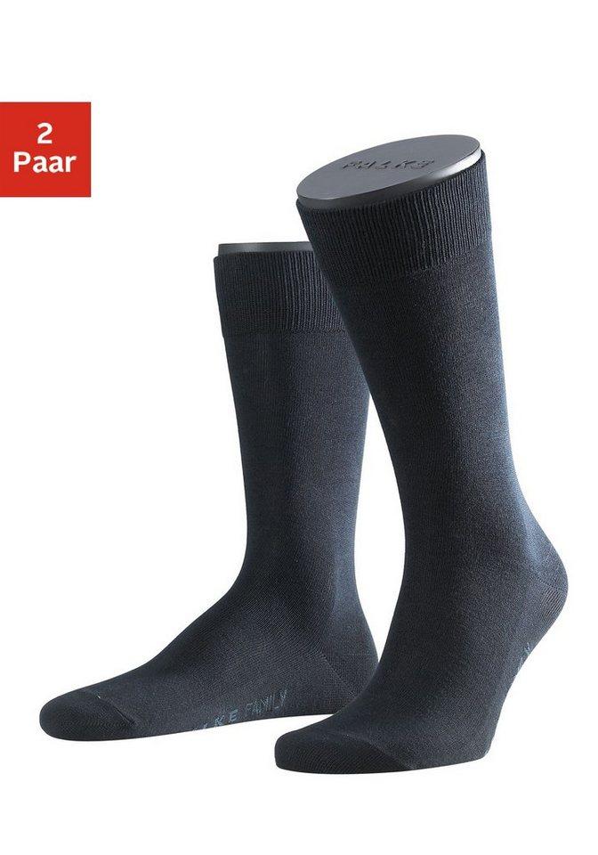 Falke Socken »Family« (2 Paar) mit extrahohem Baumwollanteil in schwarz+marine