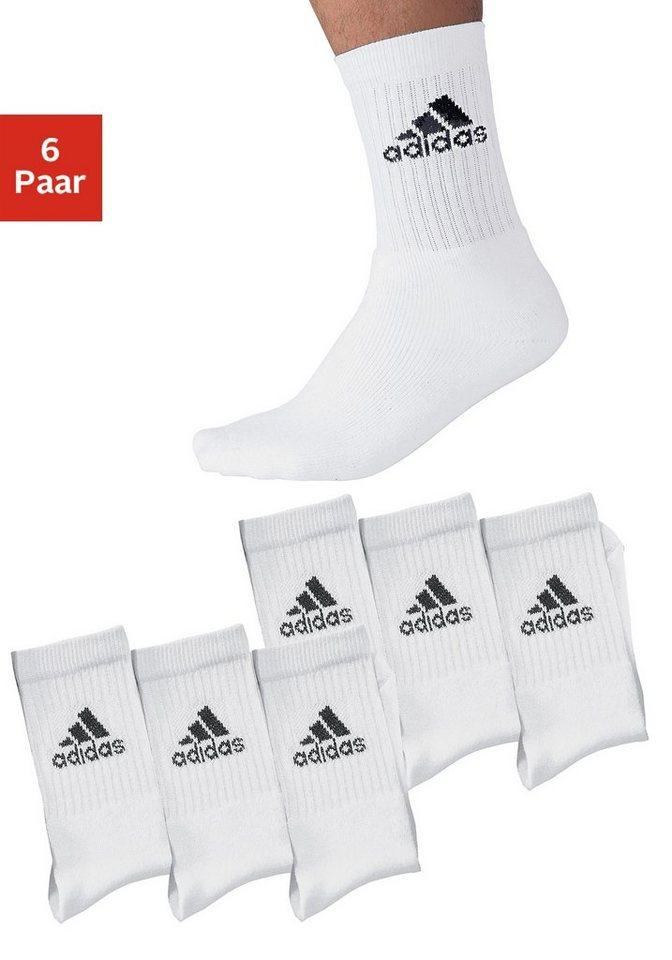 adidas Klassische Sportsocken (6 Paar) mit Frottee in 6x weiß