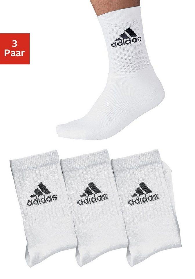 adidas Klassische Sport- und Freizeitsocken (3 Paar) in 3x weiß