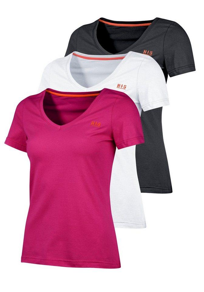 H.I.S T-Shirt 3 Shirts für einen Preis (Packung, 3 tlg.) in schwarz-pink-weiß