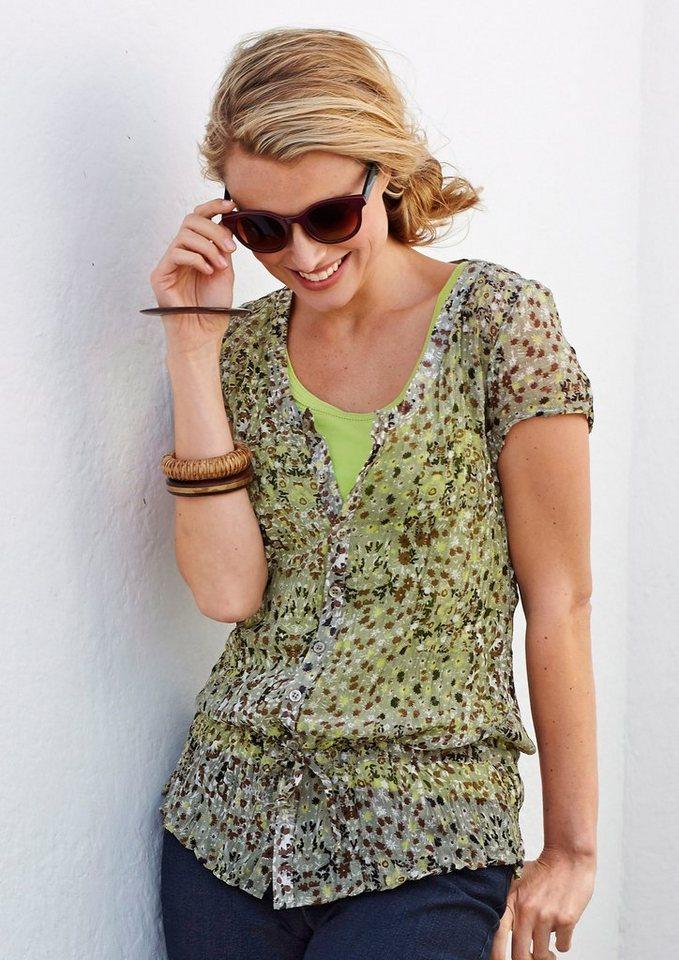 Cheer Crinklebluse im angesagten Alloverdruck in olivgrün-limette