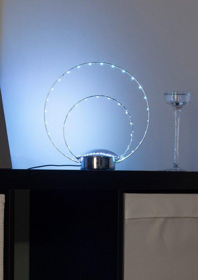 LED-Deko-Tischlampe, Brilliant Leuchten in silberfarben