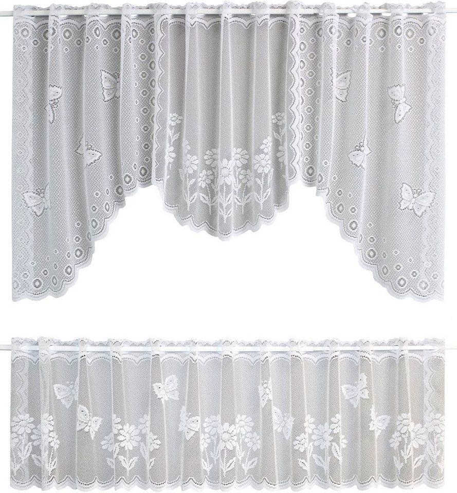 Scheibengardine, VHG, »Daisy«, mit Stangendurchzug (1 Stück) in weiß